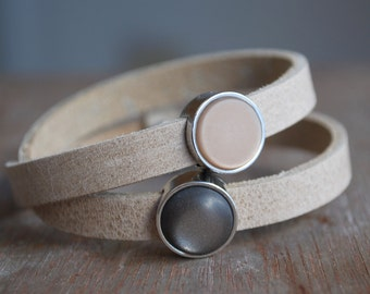 Driftwood . Grey leather wrap bracelet // taupe / urban romantic / for her // winter