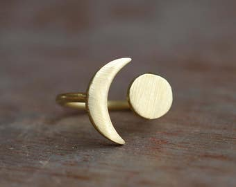 Universe . Moon brass ring . adjustable