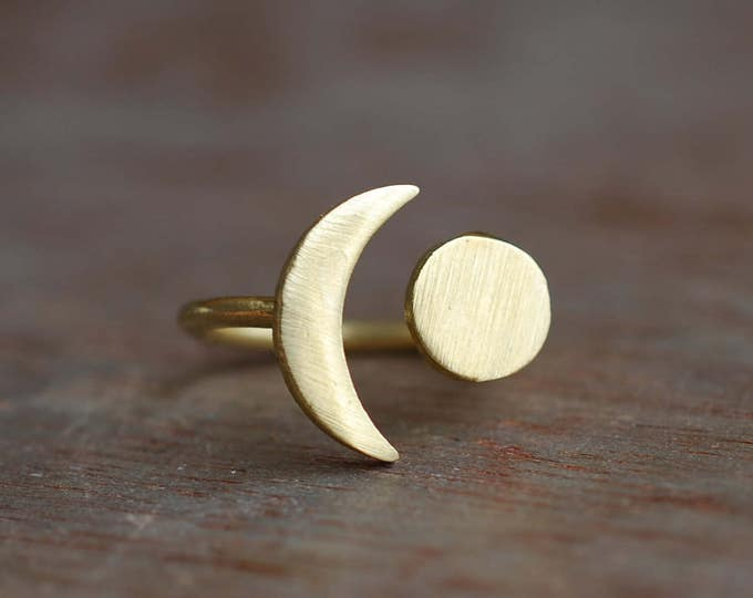 Featured listing image: Universe . Moon brass ring . adjustable