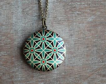 Turquoise locket necklace / keepsake /  / oriental pattern