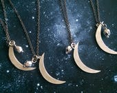 Silver Moon . Silver crescent moon necklace . constellation . inspirational gift ideas