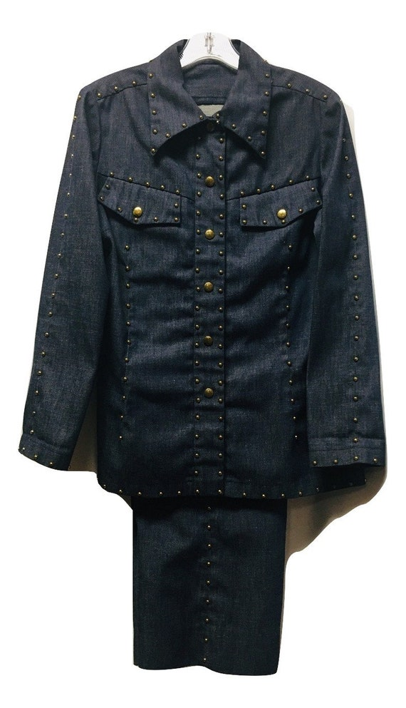 Vintage Gold Studs Ornate Denim Suit