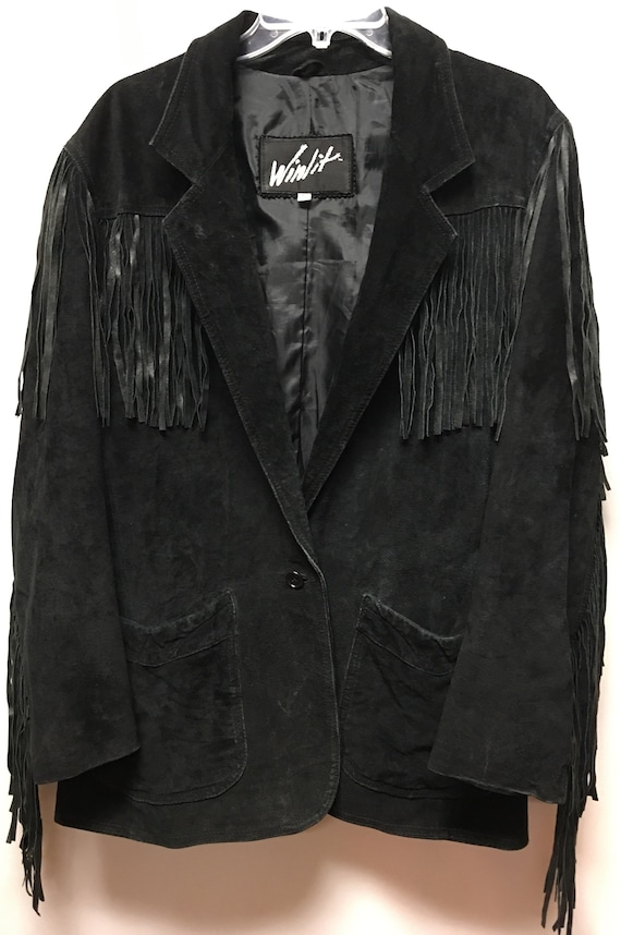 Winlit Black Suede Fringe Leather Jacket size M