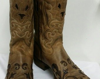 Corral Boots Hand Chocolate/ Sand Lizard Inlay in size 8.5 D
