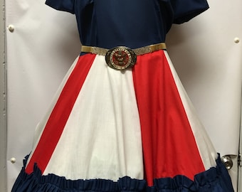 Vintage Helen Red/White/Blue Square Dance Dress
