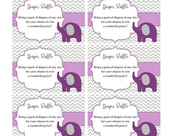 Diaper Raffle Ticket Cards Printable Baby Shower Games Diaper Raffle Insert Girl Baby Shower invitations Elephant Instant Download (50p)