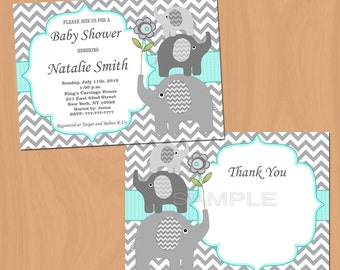 Boy Baby Shower Invitations Elephant Baby Shower Invites Elephant Baby Shower Invitation (01b) Free Thank You Card Editable text Download