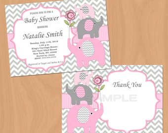 Girl Baby Shower Invitation Elephant Baby Shower Invitation Pink Grey Baby Shower Invites (50-1) Free Thank You Card Instant Download