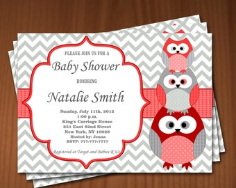 Owl Baby Shower Invitation Girl Baby Shower invitations Printable Baby Shower Invites -FREE Thank You Card - editable pdf Download 574 red