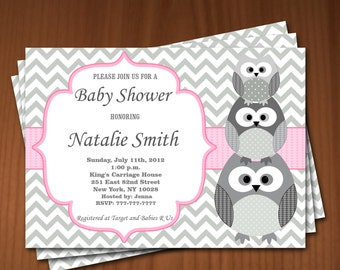 Owl Baby Shower Invitation Girl Baby Shower invitations Printable Baby Shower Invites / FREE Thank You Card / editable pdf Download 539 pink