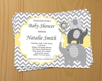 Neutral Baby Shower Invitations Elephant Baby Shower Invites Yellow Baby Shower Invitation Yellow - FREE Thank You card (87)