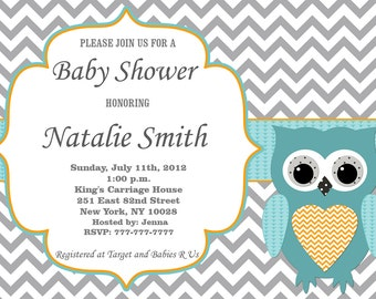 Baby Shower Invitation Owl Baby Shower Invitations Boy Baby Shower Invitation Baby Shower Invites - Free Thank You Card - Instant Download