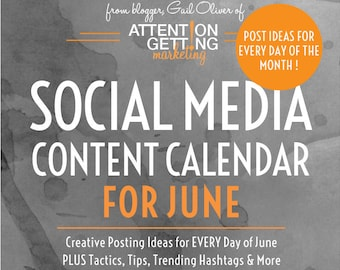 June Social Media Content Calendar, Social Media Planner with Posting Ideas for EVERY Day of JUNE 2018 for Your Etsy Shop