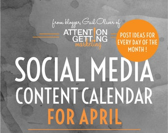 Social Media Content Calendar, Social Media Planner with Posting Ideas for every day of April 2018 for Your Etsy Shop
