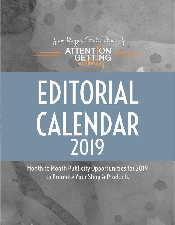 Editorial Calendar Media Planner 2019 Calendar Printable Etsy