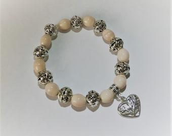 Creamy Ceramic Beaded Bracelet with Silver Heart Charm