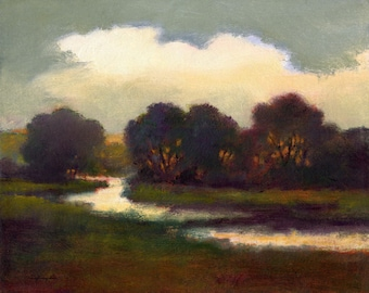 Country canvas print, landscape, river, dark reds, green, gray, woodlands art, field and stream, water, impressionism, creek, clouds, woods