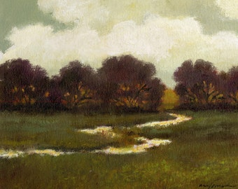 Custom original oil painting large landscape 30x40 canvas, evening, rivers, stream, dark reds, streams, green, gray, pasture, fields, trees