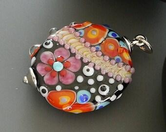 Lampwork bead pendant -- made by silke -- artisan glass -- SRA -- OOAK - Silke Buechler - PINK FLoWER