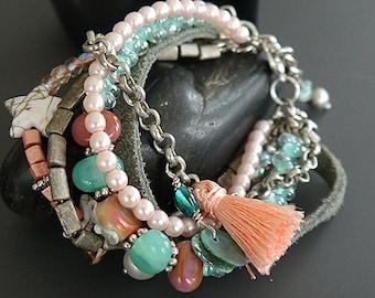 Handmade lampwork glass beads artisan bracelet  - Stacked Bracelet - multiple strands - Ibiza Style - Boho - made by Silke - OOAK - SRA