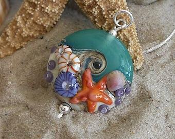 Lampwork bead pendant -- made by silke -- artisan glass -- SRA -- ooak - Silke Buechler - SEA BEACH