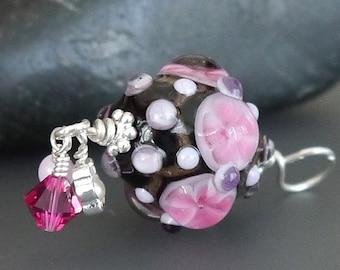 Lampwork bead pendant  |  Sterling Silver |  made by silke  |  artisan glass  |  SRA  |  OOAK  |  Light Pink Flower
