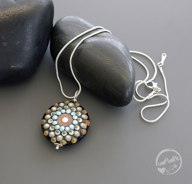 made by silke Lampwork bead pendant sterling silver Silke Buechler Mandala artisan glass OOAK SRA