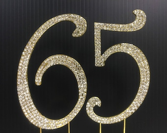 Rhinestone Gold NUMBER 65 Cake Topper 65th Birthday Parties FREE SHIPPING