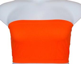 c121ab1d86 2 pcs Tube Top Strapless Bras Plus Size Seamless Bandeau Orange Free  Shipping