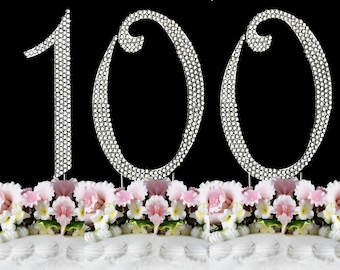 New Large Rhinestone NUMBER 100 Cake Topper 100th Birthday Party Free Shipping Great Gift Idea
