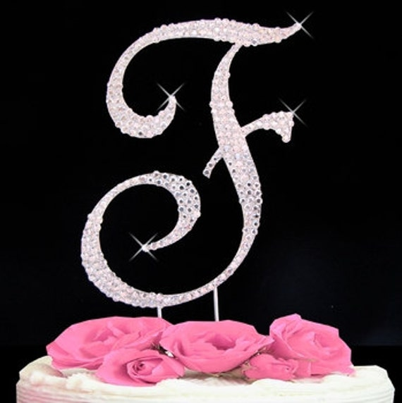"Large Rhinestone Crystal Monogram /""Z/"" Wedding Cake Topper 5/"" inch High Gold"
