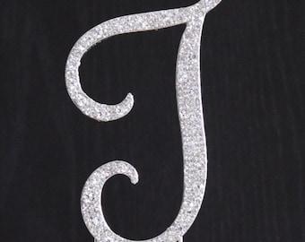 New Style Rhinestone Crystal Monogram Letter J Wedding Cake Topper 4 x 2.5 inches