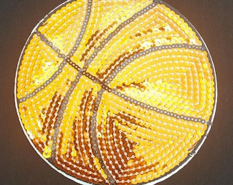 Orange Sequin Basketball patch iron on transfer hot fix (4 3/4 X 4 3/4) inches