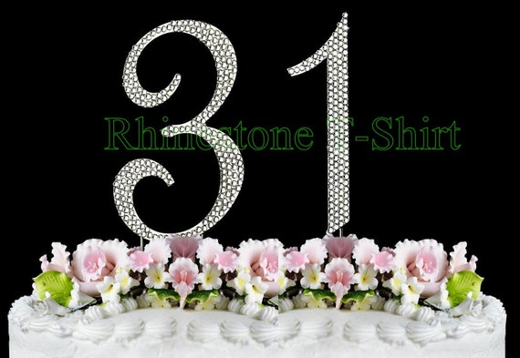 New Large Rhinestone NUMBER 31 Cake Topper 31th Birthday