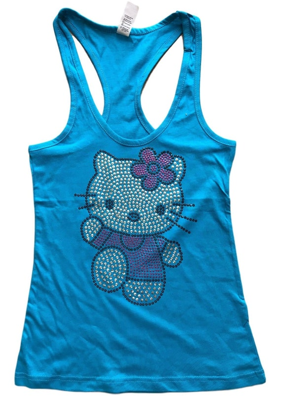 1ed2f62e19c4ef Sequin Hello Kitty Solid Tank Top Shirt Color Turquoise Size