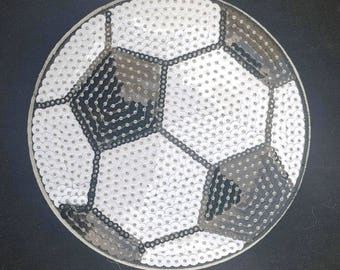 Sequin Soccer patch iron on transfer hot fix Applique (4 3/4 X 4 3/4) Inches