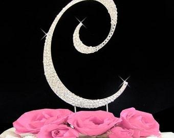 Large Rhinestone Crystal Monogram Letter  C  Wedding Cake Topper 5 inches high