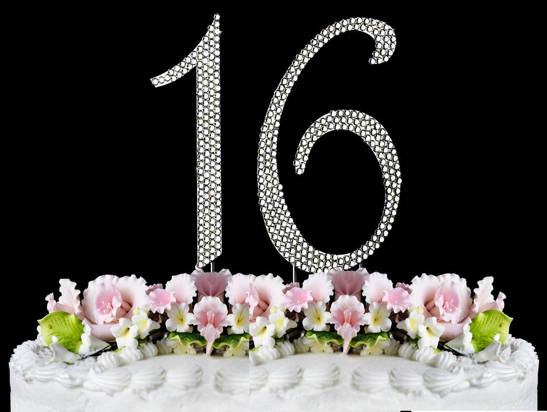 Phenomenal New Large Rhinestone Number 16 Cake Topper Sweet 16 Birthday Etsy Funny Birthday Cards Online Necthendildamsfinfo