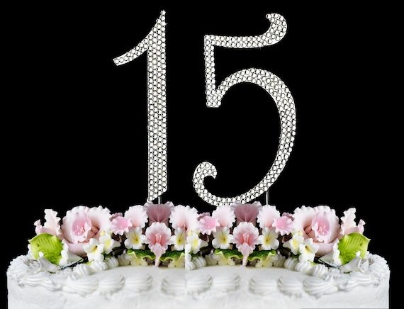 Gros strass cristal argent nombre Diamond Anniversary Birthday Cake Topper