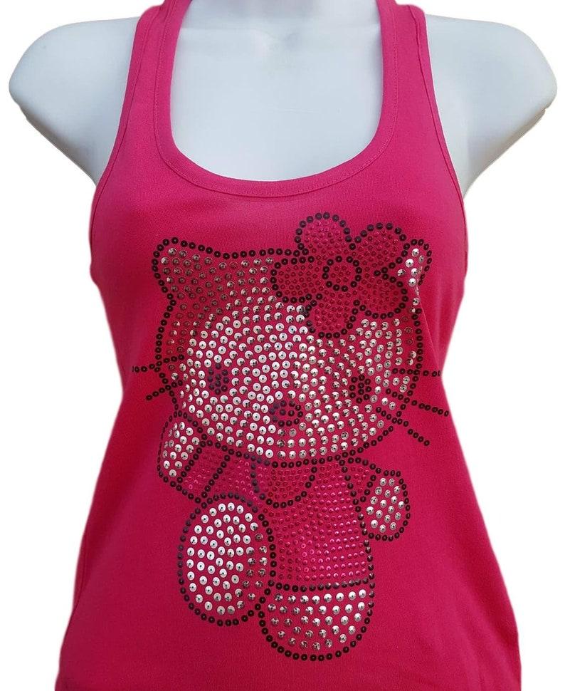 4a0f215e5079b Paillette Hello Kitty Débardeur solide chemise couleur rose