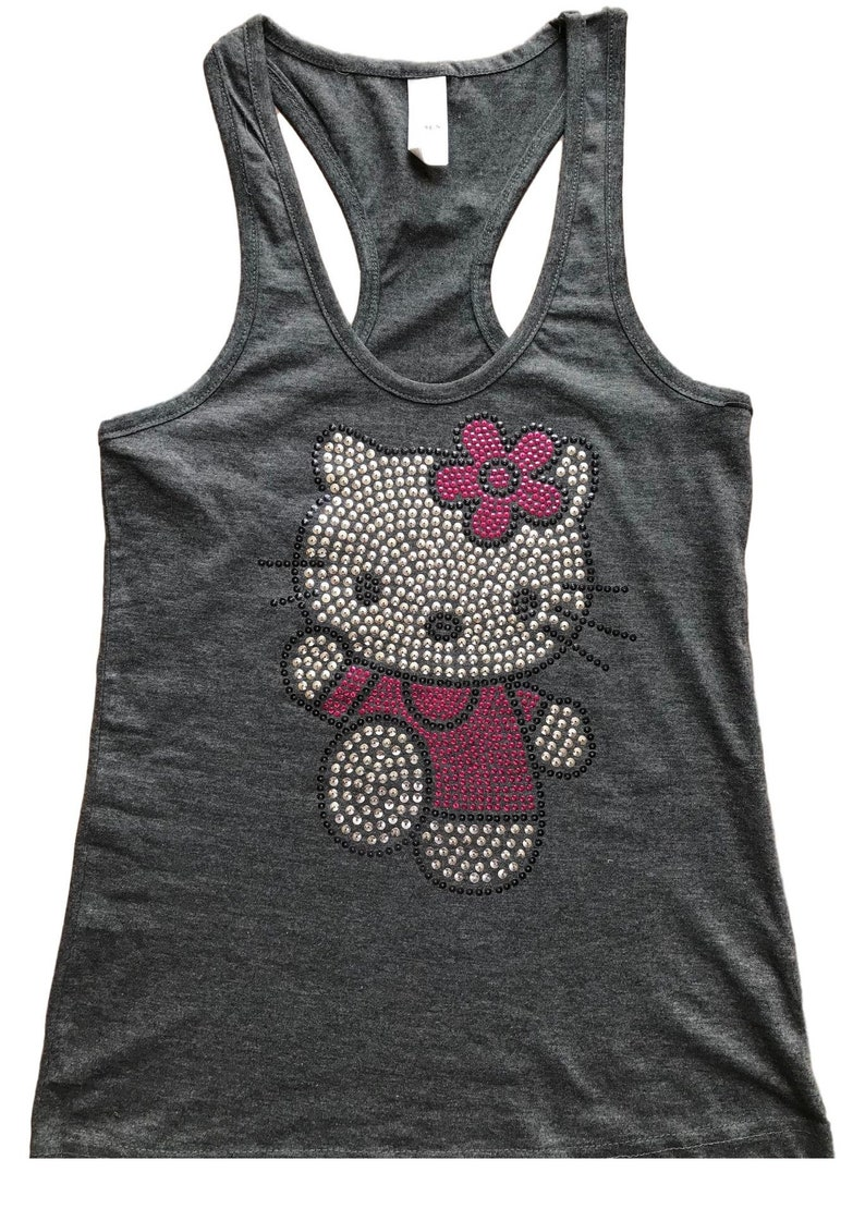 de6dbd7f7d2900 Sequin Hello Kitty Solid Tank Top Shirt Color Charcoal Size