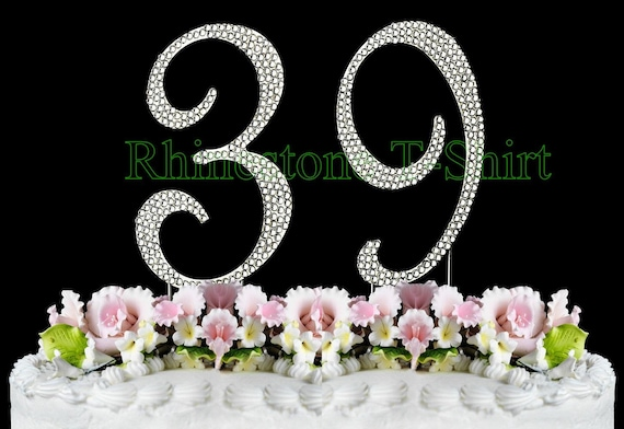 New Large Rhinestone NUMBER 39 Cake Topper 39th Birthday