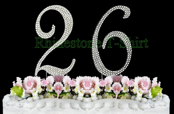 New Large Rhinestone NUMBER 26 Cake Topper 26th Birthday