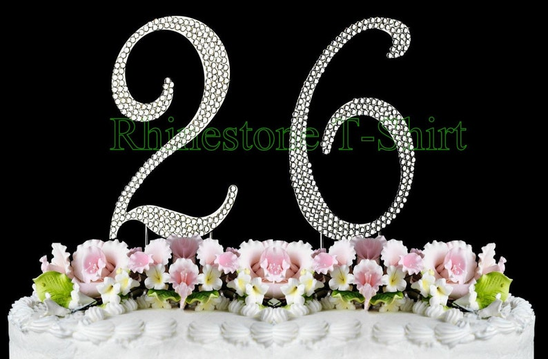 New Large Rhinestone NUMBER 26 Cake Topper 26th Birthday