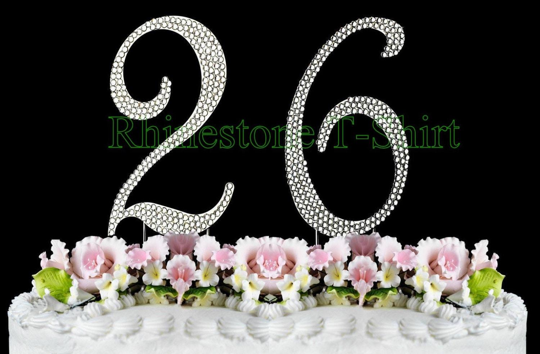 New Large Rhinestone Number 26 Cake Topper 26th Birthday Etsy