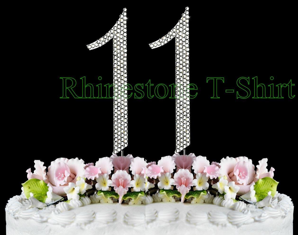 New Large Rhinestone NUMBER 11 Cake Topper 11th Birthday