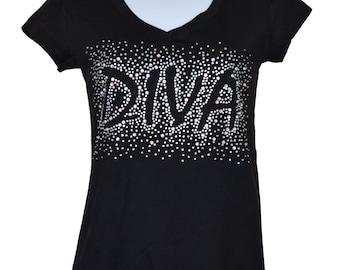 Rhinestone Diva on a  V-neck T-shirt blacks size small to 3XL plus size