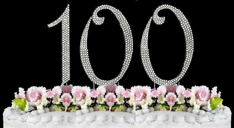 New Large Rhinestone NUMBER 100 Cake Topper 100th Birthday