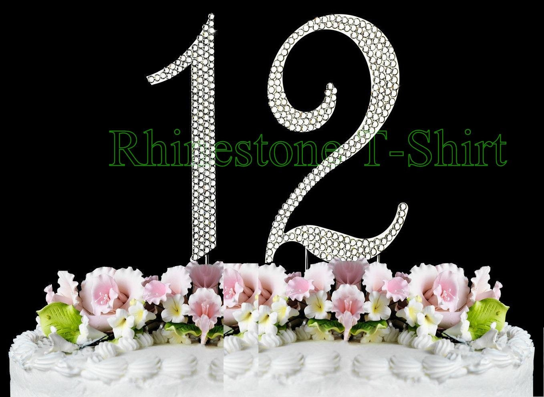 New Large Rhinestone Number 12 Cake Topper 12th Birthday Etsy