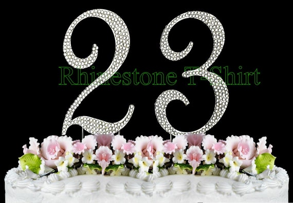 New large rhinestone number 23 cake topper 23th birthday altavistaventures Image collections